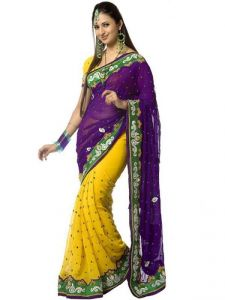 Styles Closet New Designer Georgette Purple Saree