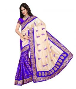 Blue And White Chiffon Fabric Printed Exclusive Stylish Saree