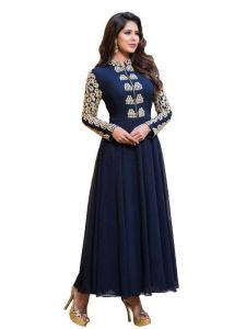 Anarkali Suits (Unstitched) - Women's Blue Net Raw Silk Anarkali Dress Salwar Suit Ufs1095