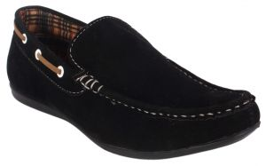 George Adam Mens Synthetic Leather Black Loafers (code - Ch_2201_black)