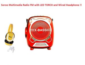 FM Radios - Soroo X-Bass Rechargeable Multimedia FM Radio with LED Torch/USB/SD card Slot/Headphone & AUX Jack