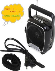 FM Radios - SoRoo Multimedia FM Radio Speaker with USB and Torch Rechargable - Simply Black FM Radio (Black)