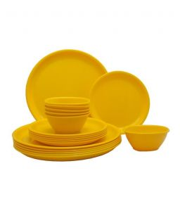 Incrizma Yellow 18 PCs Round Dinner Set