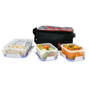 Incrizma Plastic Yummy Deluxe Lunch Box Set, 3-pieces