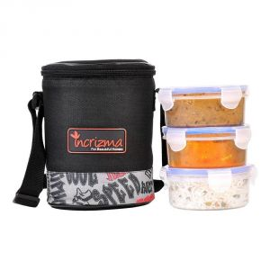 Incrizma Plastic Yummy Trio Lunch Box With Black Bag