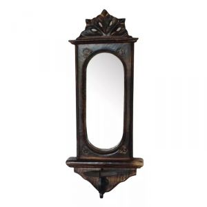 Mirrors - Onlineshoppee Wooden Big Candle Stand for Wall Mirror Antique Style Handicrafts AFR1107