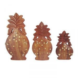 Onlineshoppee Set Of 3 Wooden Pineapple Shaped Key Hanger Panel With Brass Work AFR1423