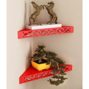 Onlineshoppee MDF Decorative Wall Hanging Shelves For Living Room Empty Wall Corners - Set Of 2 Red AFR1684