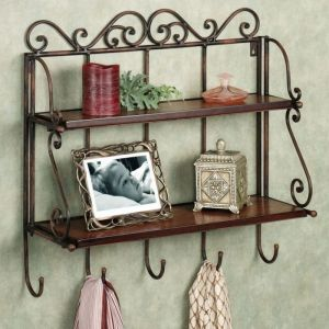 Onlineshoppee Home Utility Furniture - Onlineshoppee Home Decor 2 Shelf Book/ Kitchen Rack With Cloth/Key Hanger S