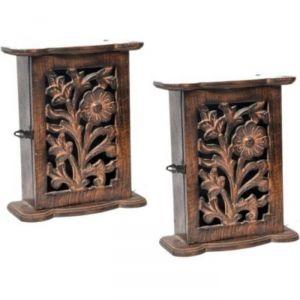 Onlineshoppee Handicraft Hand Made Decorative Wall Hanging Box Wooden Key Holder Set Of 2 AFR1755