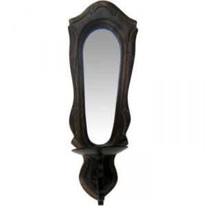 Decorative mirrors - Onlineshoppee Wooden & Iron Beautiful Hand Carved Wall Hanging Miror Reflection Candle Holder AFR1844