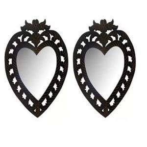 Decorative mirrors - Onlineshoppee Wooden Antique With Handicraft Work Heart Design Mirror Frame Pack Of 2 AFR1899