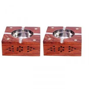 Onlineshoppee Wooden Premium Quality Antique Ashtray With Brass Inlay,Pack Of 2 AFR2044