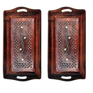 Onlineshoppee Wooden Premium Quality Serving Tray With Hand Carved Design 11 Inch,Pack Of 2 AFR2063