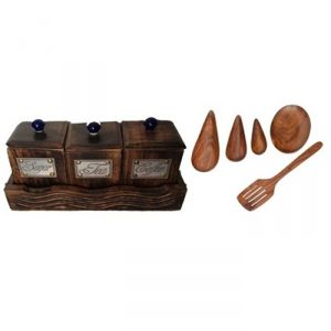 Onlineshoppee Kitchen Utilities, Appliances - Onlineshoppee Three Container Set With Wooden Tray,Wooden Handmade Serving and Cooking Spoon Set AFR2291