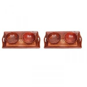 Serving Trays - Onlineshoppee Handicrafts Designed Brown 2 Tray With 4 Bowls Wood Carvings Size-(11x6.5x1)Inch,Pack Of 2 AFR2313