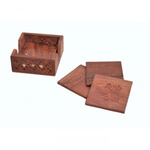 Onlineshoppee Kitchen Utilities (Misc) - Onlineshoppee Handicrafts Brownish Wood Coaster Set SIze-3.7x3.7x1.7 Inch AFR2356