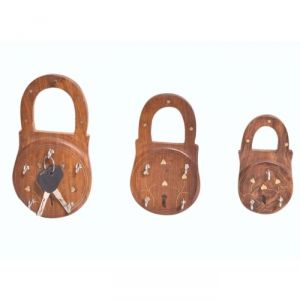 Onlineshoppee Wooden Antique Lock Shaped Key Holder Pack Of 3 AFR2374