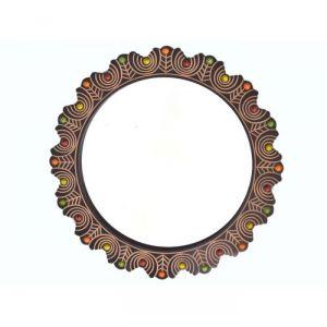 Decorative mirrors - Onlineshoppee Wooden Antique With Handicraft Work Fancy Design Mirror Frame AFR2375