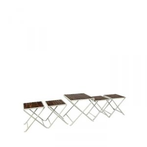 Home Utility Furniture - Onlineshoppee Wood & Iron cum Foldable Coffee table set AFR2425