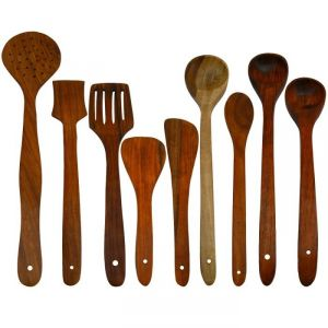Onlineshoppee Kitchen Utilities, Appliances - Onlineshoppee Antique Wooden Handmade Serving and Cooking Spoon Set of 9 AFR2771