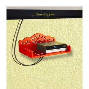 Home Utility Furniture - Onlineshoppee MDF Beautiful Design Set top box Wall Shelf Colour-Orange AFR2833