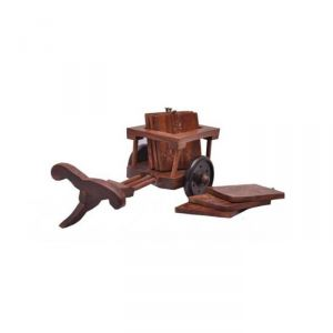 Onlineshoppee Kitchen Utilities (Misc) - Onlineshoppee Wooden Bullock-cart Tea Coasters Home Decor(6 Pcs.) AFR297