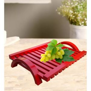 Onlineshoppee Kitchen Utilities, Appliances - Onlineshoppee Hand-crafted Premium Quality MDF Fruit & Vegetable Tray - Red AFR3021