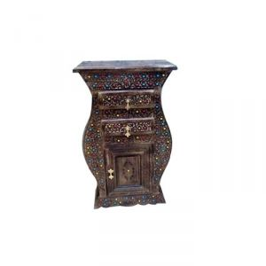 Display units - Onlineshoppee Wooden Hand Carved Cabinet With 2 Drawers AFR305