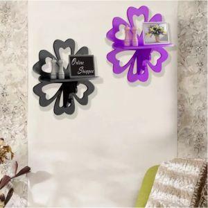Onlineshoppee Beautiful MDF Decorative Wall Shelf Set Of 2 - Black & Purple AFR3062