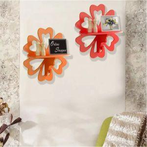 Onlineshoppee Beautiful MDF Decorative Wall Shelf Set Of 2 - Orange & Red AFR3091