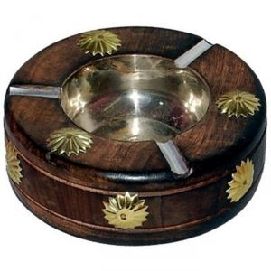 Ashtrays - OnlineShoppee Wooden Premium Quality Antique Ashtray Brown AFR380
