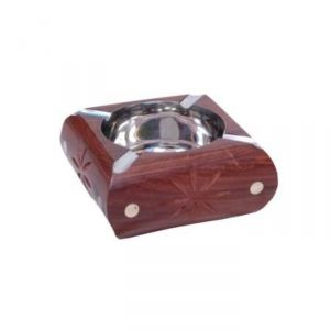 Onlineshoppee Wooden Premium Quality Antique Ashtray With Brass Inlay AFR391