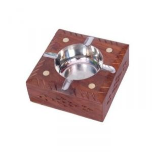 Onlineshoppee Wooden Premium Quality Antique Ashtray With Brass Inlay AFR403