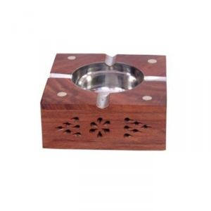 Onlineshoppee Wooden Premium Quality Antique Ashtray With Brass Inlay AFR404