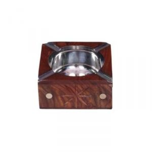 Onlineshoppee Wooden Antique Hand Carved Ashtray With Brass Inlay AFR581