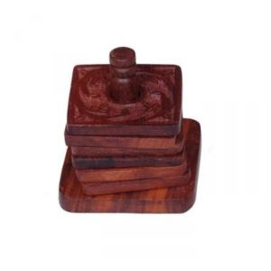 Onlineshoppee Wooden Tea Coaster With 6 Plates In Carving Design AFR582