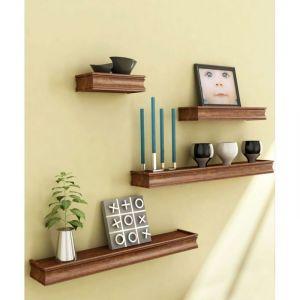 Onlineshoppee Home Utility Furniture - Onlineshoppee Beautiful Wooden Brown Rectangular Wooden Wall Shelf