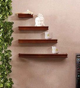Onlineshoppee Home Utility Furniture - Onlineshoppee Beautiful Wooden Brown Rectangular Wooden Wall Shelf AFR868NEWNew