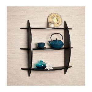 Onlineshoppee Home Decor ,Kitchen  - Onlineshoppee Beautiful Black 3 Tier Wooden Wall Shelves/Rack Size LxBxH-20
