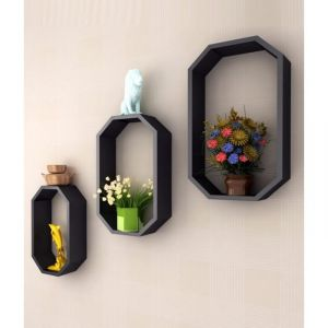 Onlineshoppee Home Decor ,Kitchen  - Onlineshoppee Fancy 3 Pcs Octagon Shaped Wooden Wall Shelf