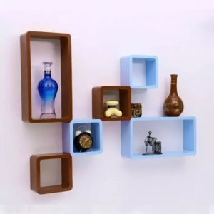 Onlineshoppee Home Utility Furniture - Onlineshoppee MDF Cube Shape Floating Wall Shelves Set of 6 CUBE40