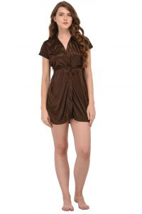 You Forever Solid Brown Short Gown (code - Yfgnbrn)