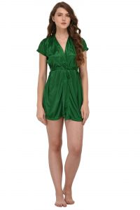 You Forever Solid Green Short Gown (code - Yfgngrn)