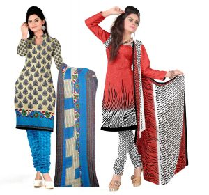 Dress Material Combos - Combo of Multicolor Embroidered Crepe Semistitched Dress With Dupatta