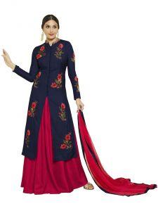Anarkali Suits - Multi Retail Navy Blue Embroidery Satin Cotton Unstitched Salwar Suit With Dupatta_C485DLMASTBLOM