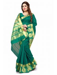 Multi Retail Dark Green Cotton Silk Party Wear Jacquard/ Self Design Saree With Unstitched Blouse (code - C863se1101-fsr)