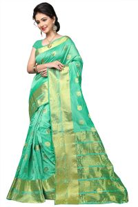 Multi Retail Sea Green Cotton Silk Party Wear Jacquard/ Self Design Saree With Unstitched Blouse (code - C967se1157-fsr)