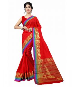 Multi Retail Red Cotton Silk Party Wear Jacquard/ Self Design Saree With Unstitched Blouse (code - C999dl1166-asr)