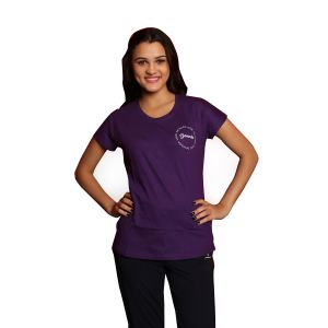 De'Moda Women's Purple Round Neck T-shirt (Code - DM5006B-1-DM)